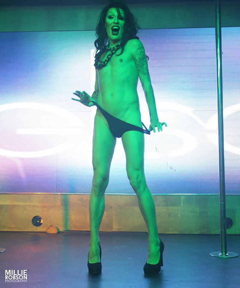 Performing as a drag queen at the East London Strippers Collective