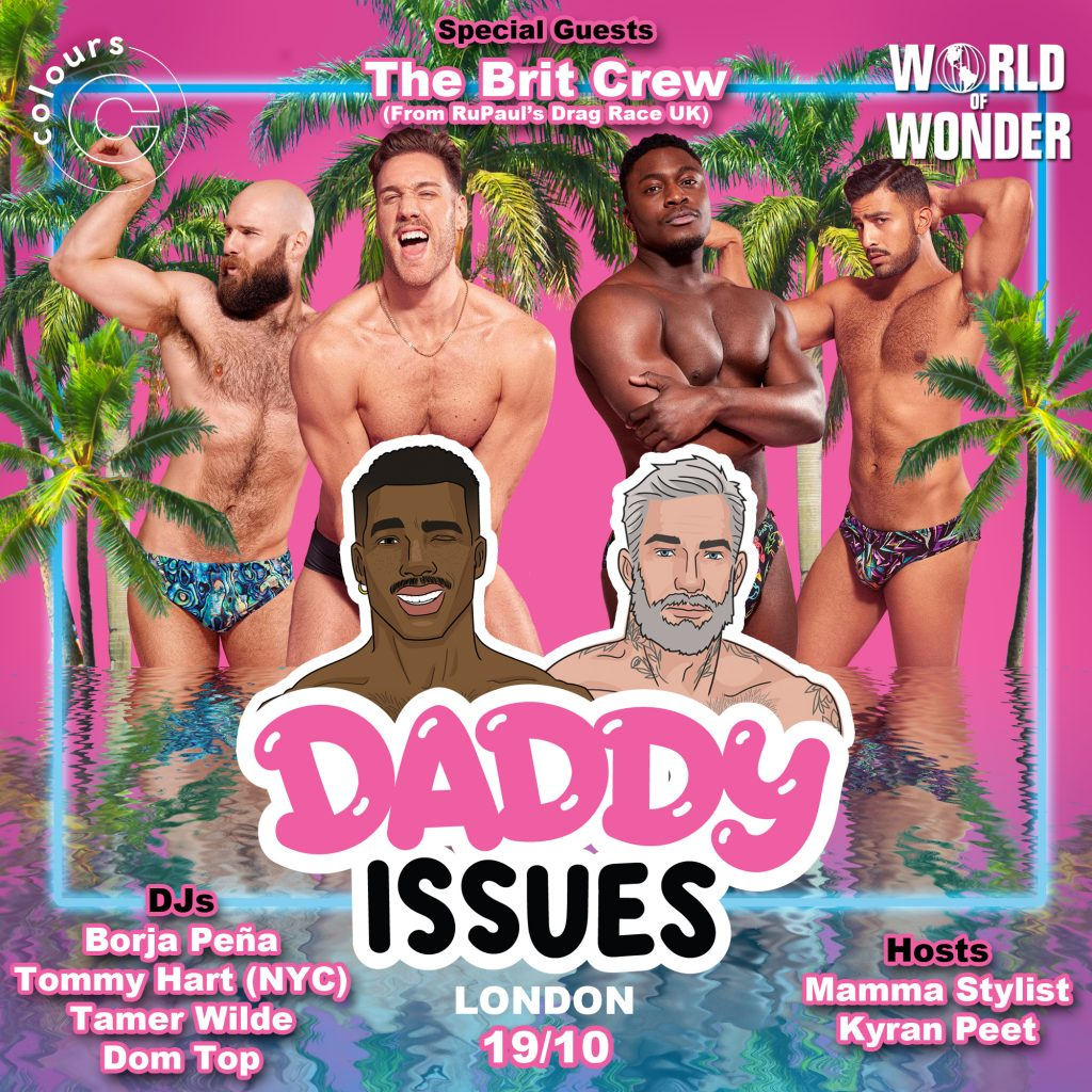 Daddy Issues club night poster design with RPDR's Brit crew, World of Wonder
